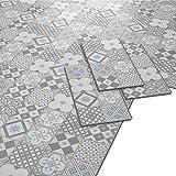 ARTENS - PVC Bodenbelag - Click Vinylboden- Zementfliesen Muster - Blau-grau/Weiß - 1,49m²/8...