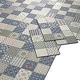 ARTENS - PVC Bodenbelag - Click Vinylboden- Zementfliesen Muster - Blau/Grün/Creme - 1,49m²/8...