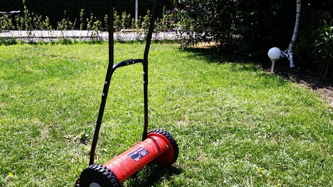 Roter Einhell Hand-Rasenmäher GC 40
