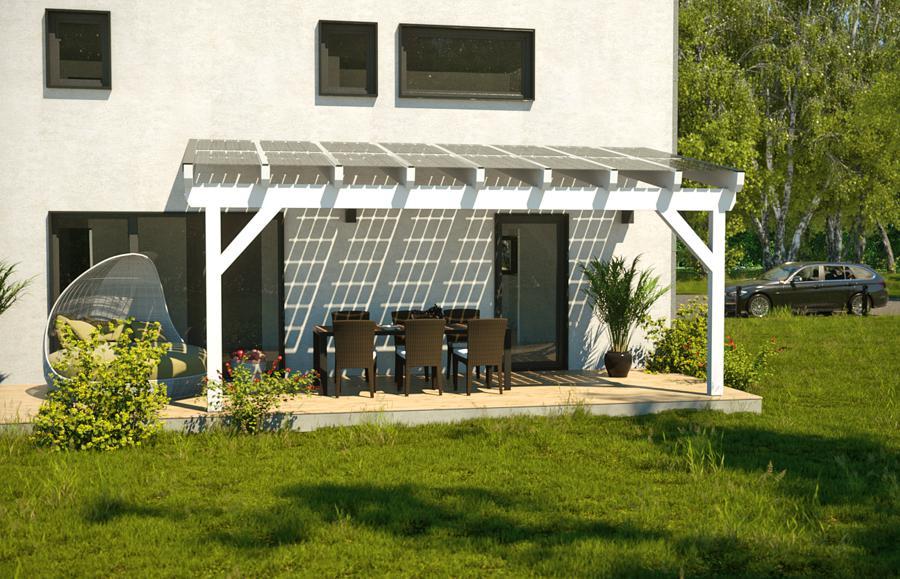 Ein weißes Haus mit kleiner Terrasse und Terrassendach