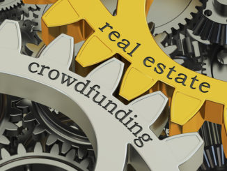 Immobilien-Crowdfunding-Konzept auf dem 3D-Rendering der Zahnräder