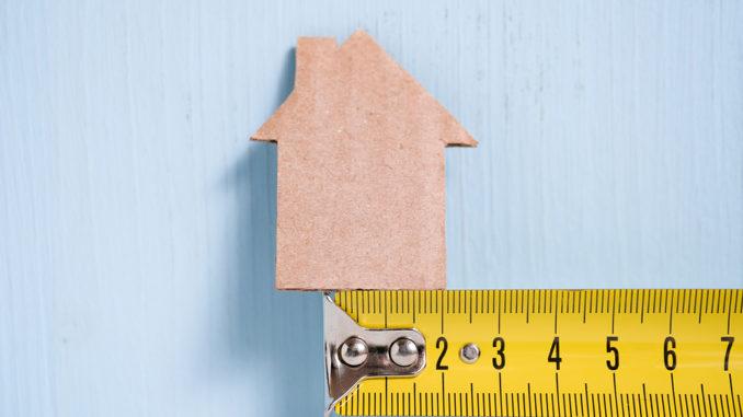 Gelbes Linial unter einem kleinen Holzhaus