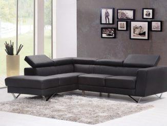 Wohnzimmermöbel aus Leder, Schwarze Ledercouch